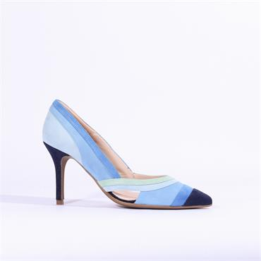 Marian Multi Colour Suede Heel Daisy - Blue Combination